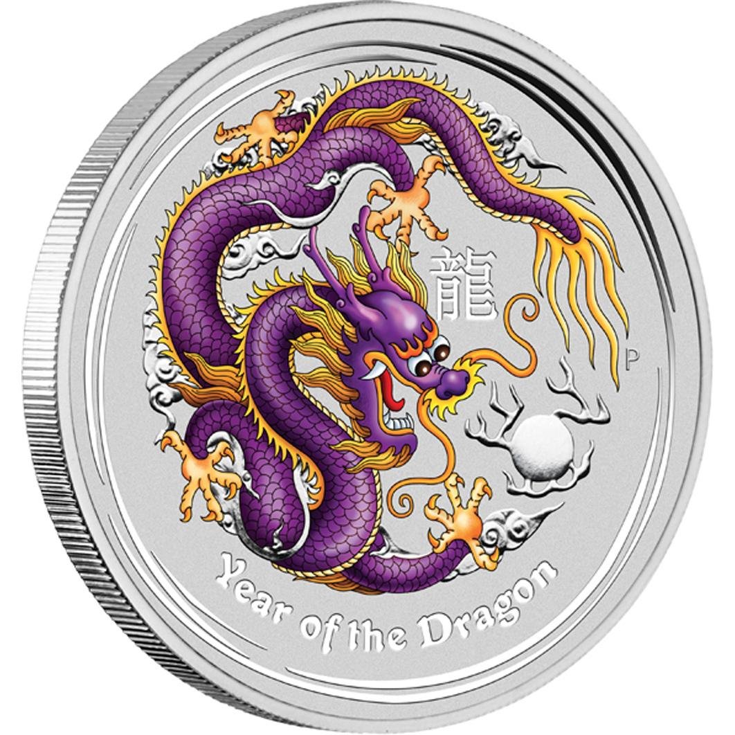 2012 1oz Silver Lunar Dragon - Coloured ANDA Brisbane Show